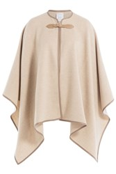 Max Mara Wool Cape With Leather Trim Beige