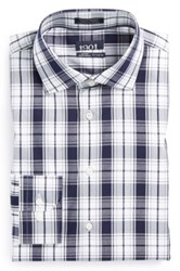 1901 Trim Fit Plaid Non Iron Dress Shirt Blue