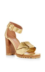 Marni Gold Leather Sandals With Wooden Heel Tan