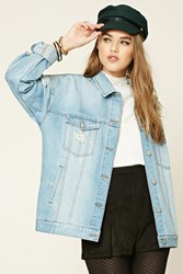 Forever 21 Distressed Denim Jacket Light Denim