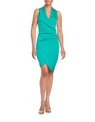 Nicole Miller Asymmetrical Draped Front Dress Paradise Green