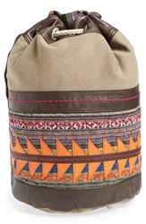 Toms 'Rebel' Canvas And Leather Bucket Bag Olive Multi