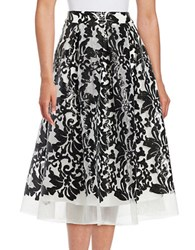 Eliza J Baroque Flared Skirt Black White