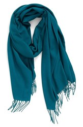Nordstrom Women's Tissue Weight Wool And Cashmere Scarf Teal Green