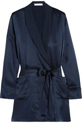 Araks Madeline Washed Silk Crepe De Chine Robe Midnight Blue