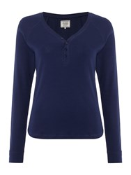 Dickins And Jones Henley Navy Rib Top