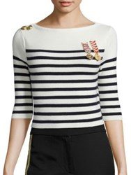 Tommy Hilfiger Collection Sailor Cropped Long Sleeve Sweater Navy Blazer Multi