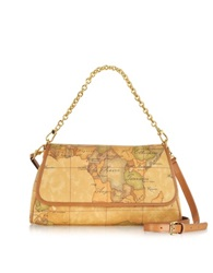 Alviero Martini 1A Prima Classe Geo Printed Small Contemporary Shoulder Bag Brown