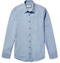 Gucci Slim Fit Cotton Poplin Shirt Sky Blue