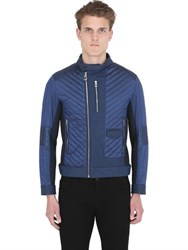Ettore Bugatti Collection Quilted Ripstop Nylon Moto Jacket