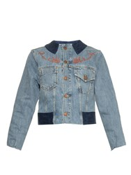 Aries Cat And Rose Embroidery Denim Jacket