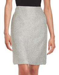 Tahari By Arthur S. Levine Sequined Knit Pencil Skirt Grey Silver