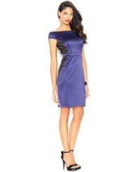 Jessica Simpson Off The Shoulder Satin Sheath
