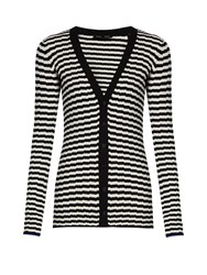 Proenza Schouler Striped V Neck Silk And Cashmere Blend Cardigan Black Stripe