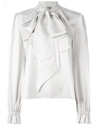 Temperley London 'Atlas' Pussy Bow Blouse Grey