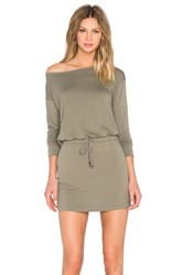 Michael Stars Off The Shoulder Drawstring Dress Olive