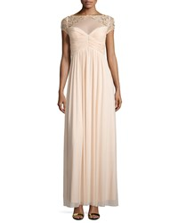 Marina Sequined Short Sleeve Empire Gown Champagne