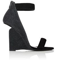 Pierre Hardy Women's Amanda Glitter And Suede Wedge Sandals Black