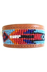 Men's Will Leather Goods Beaded Cuff Bracelet Natural