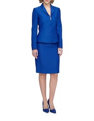 Tahari By Arthur S. Levine Plus Notch Collar Peplum Zip Front Jacket Skirt Suit Royal Blue