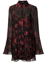 Thakoon Printed Ruffled Shirt Dress Black