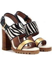 Marni Printed Calf Hair And Metallic Leather Sandals Gold