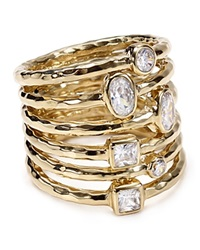 Melinda Maria Stacked Monroe Ring Gold Clear