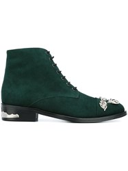 Toga Embellished Toe Cap Ankle Boots Green