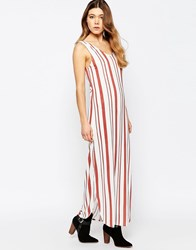 B.Young Striped Maxi Dress Marsala