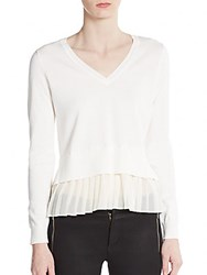 1.State Pleated Hem V Neck Sweater Vanilla