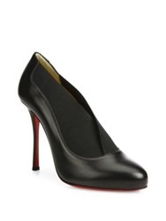 Christian Louboutin Leather And Elastic Round Toe Pumps Black