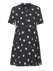 Saint Laurent Bow Tie Embellished Daisy Print Dress