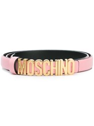 Moschino Logo Plaque Belt Pink And Purple