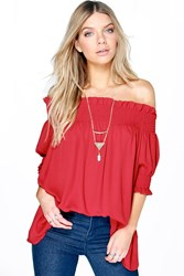 Boohoo Woven Off The Shoulder Tunic Terracotta