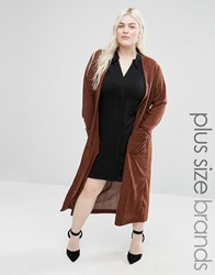 Elvi Plus Maxi Cardigan Brown