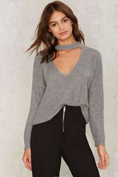 Nasty Gal Down The Rabbit Hole Plunging Sweater Gray
