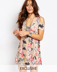 Milk It Vintage Cold Shoulder Festival Tea Dress In Hawaiian Floral Beige