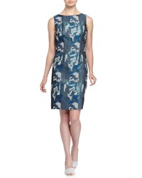 Chetta B Brocade Sleeveless Sheath Dress Ice Blue
