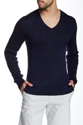 John Varvatos Long Sleeve V Neck Cable Sweater Multi