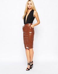 Missguided Faux Leather Pencil Skirt Brown