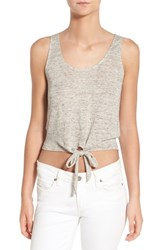 Women's Cupcakes And Cashmere 'Rosie' Crop Linen Tank Light Heather Grey