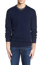Men's 1901 'Granite Peak' Wool Blend V Neck Sweater Navy Peacoat