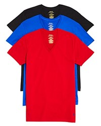 Polo Ralph Lauren Classic V Neck Tee Pack Of 3 Royal Black Red