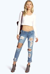 Boohoo Low Rise Ripped And Distressed Boyfriend Jeans Mid Blue