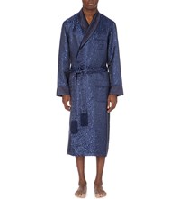 Derek Rose Verona 33 Embroidered Silk Dressing Gown Blue
