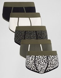 Asos U Bound Hipsters In Khaki Leopard Print 5 Pack Multi