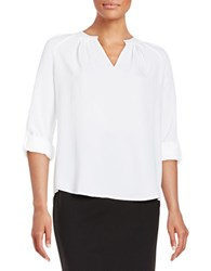 Lord And Taylor Petite Crepe Peasant Blouse White