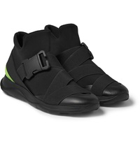 Christopher Kane Scuba Leather And Rubber High Top Sneakers