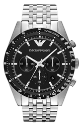 Emporio Armani Chronograph Bracelet Watch 46Mm Silver Black