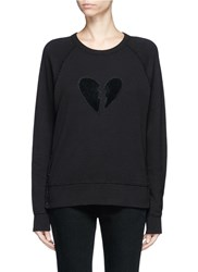 Rag And Bone Broken Heart Patch French Terry Sweatshirt Black